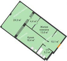 1 комнатная квартира 59,7 м² - ЖК Симфония Нижнего