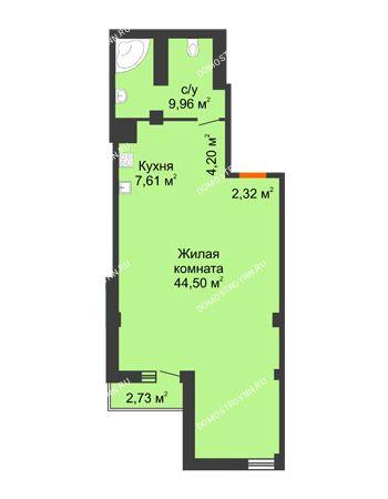 Студия 69,41 м² в ЖК Renaissance (Ренессанс), дом № 1