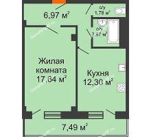 1 комнатная квартира 43,91 м² в ЖК Парковый, дом 6 позиция, блок-секция 3 - планировка
