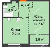 1 комнатная квартира 41,2 м², ЖК Лайнер на Барминской - планировка