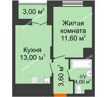1 комнатная квартира 33,7 м² в ЖК КМ Анкудиновский парк, дом № 16 - планировка