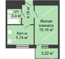 1 комнатная квартира 34,9 м² - ЖК Алый Парус