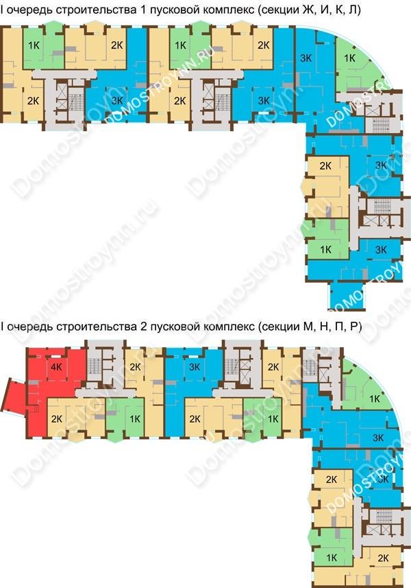 Планировка 7 этажа в доме № 89, корп. 1, 2 в ЖК Монолит