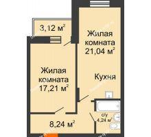 2 комнатная квартира 52,4 м², ЖК Abrikos (Абрикос) - планировка