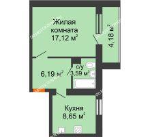 1 комнатная квартира 39,73 м² в ЖК Добрый, дом № 1