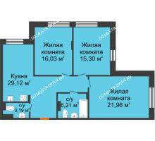 3 комнатная квартира 91,81 м², ЖК Шаляпин - планировка