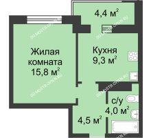 1 комнатная квартира 35,8 м² в ЖК Аквамарин, дом № 7 - планировка