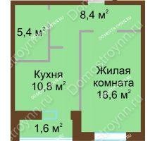 1 комнатная квартира 44,8 м² в ЖК Монолит, дом № 89, корп. 1, 2 - планировка