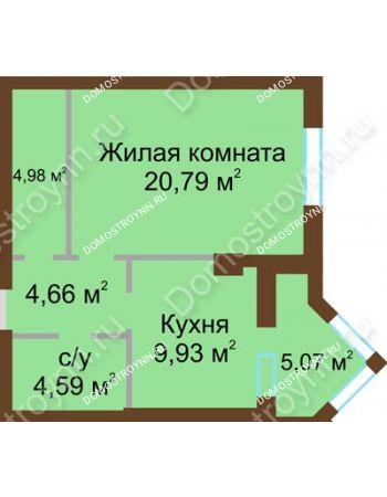 1 комнатная квартира 47,49 м² - ЖК Грани