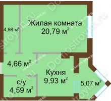 1 комнатная квартира 47,6 м² - ЖК Грани