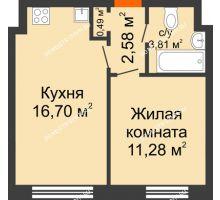 1 комнатная квартира 34,86 м² - Жилой дом: г. Дзержинск, ул. Буденного, д.11б