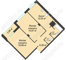 2 комнатная квартира 60,32 м² в ЖК На Вятской, дом № 3 (по генплану)