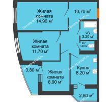 3 комнатная квартира 62,3 м² в ЖК Вересаево, дом Литер 11 - планировка