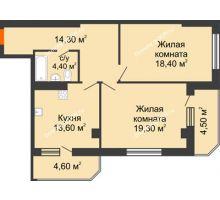 2 комнатная квартира 79,1 м², Жилой Дом пр. Чехова - планировка