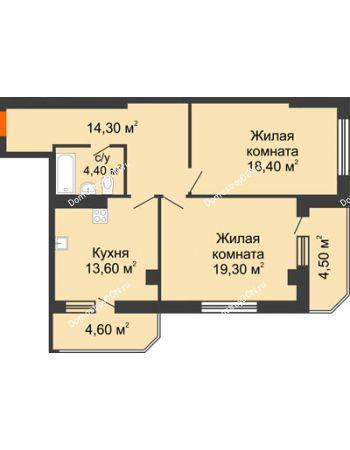 2 комнатная квартира 79,1 м² - Жилой Дом пр. Чехова