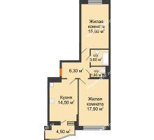 2 комнатная квартира 62,2 м² в ЖК Перспектива, дом Литер 3.5 - планировка