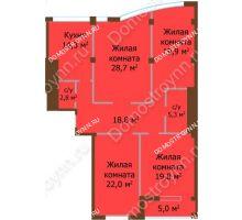 4 комнатная квартира 131,6 м², ЖК Бояр Палас - планировка