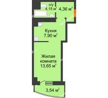 Студия 33,6 м² в ЖК Нива, дом №37 - планировка