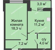 1 комнатная квартира 43,7 м² - Жилой дом: ул. Страж Революции