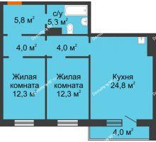 3 комнатная квартира 70,5 м² в ЖК Лесной массив, дом Строение 9 - планировка