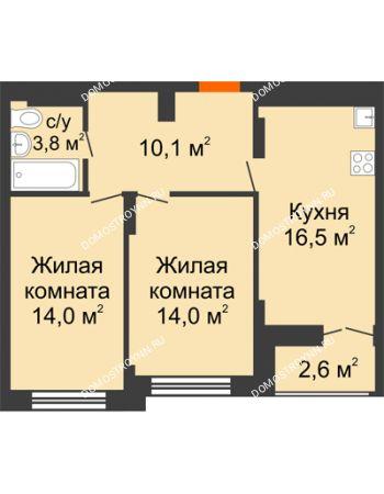 2 комнатная квартира 59,7 м² в ЖК Заречье, дом № 1, секция 1