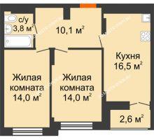 2 комнатная квартира 59,7 м² в ЖК Заречье, дом №1, секция 2 - планировка