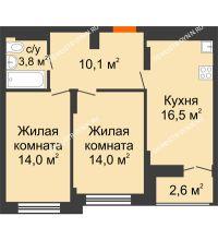 2 комнатная квартира 59,7 м² в ЖК Заречье, дом № 1 - планировка