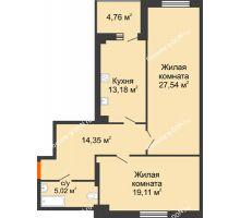 2 комнатная квартира 81,5 м², ЖК Максим Горький - планировка