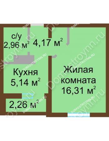 1 комнатная квартира 29,71 м² в ЖК Бурнаковский, дом № 24
