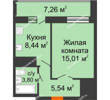 1 комнатная квартира 36,42 м² в ЖК Встреча, дом № 1 - планировка