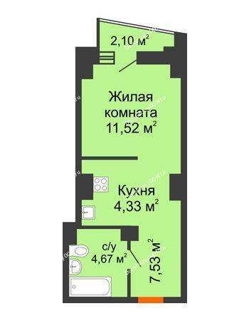 Студия 29,1 м² в ЖК Рубин, дом Литер 2