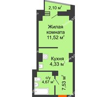 Студия 29,1 м² в ЖК Рубин, дом Литер 2 - планировка