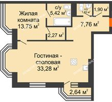2 комнатная квартира 67,1 м², ЖК Дом на Гребешке - планировка