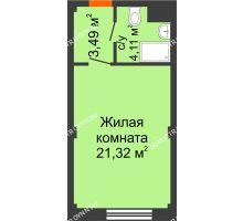 Студия 28,92 м², Апарт-Отель Гордеевка - планировка