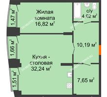 1 комнатная квартира 72,91 м², Клубный дом на Ярославской - планировка