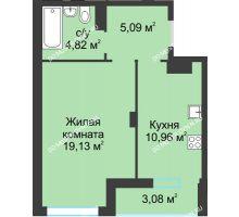 1 комнатная квартира 43,08 м² в ЖК На Вятской, дом № 3 (по генплану)