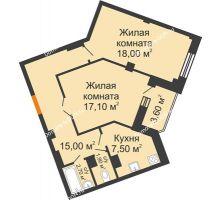 2 комнатная квартира 64 м² в ЖК Манхэттен О2, дом Дом 2 - планировка