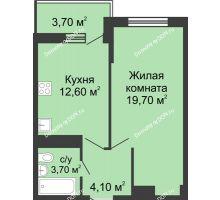 1 комнатная квартира 42,7 м² в ЖК Первый, дом Литер 1 - планировка