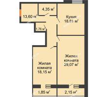 2 комнатная квартира 89,74 м², ЖК Парк Металлургов - планировка