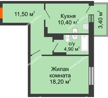 1 комнатная квартира 46 м² в ЖК Я, дом  Литер 2 - планировка