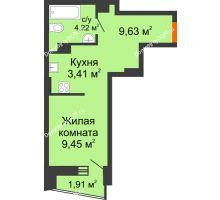 Студия 27,08 м² в ЖК Рубин, дом Литер 3 - планировка