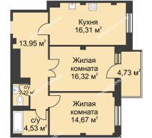 2 комнатная квартира 69,42 м² в ЖК Премиум, дом №1