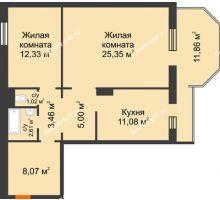 2 комнатная квартира 72,48 м² в ЖК Плодово-Ягодный, дом № 1 - планировка