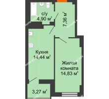 1 комнатная квартира 43,17 м² в ЖК Аврора, дом № 3 - планировка