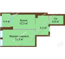 1 комнатная квартира 48,9 м², Жилой дом: ул. Почаинская д. 33 - планировка