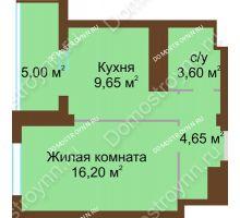 1 комнатная квартира 36,6 м², Жилой дом: ул. Краснозвездная д. 2 - планировка