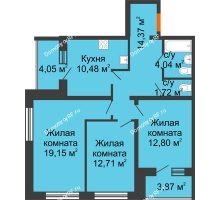 3 комнатная квартира 79,22 м², ЖК Вавиловский Дворик - планировка