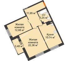 2 комнатная квартира 69,02 м², Дом премиум-класса Коллекция - планировка