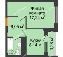 1 комнатная квартира 37,12 м², ЖД Весна - планировка
