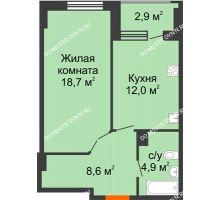 1 комнатная квартира 45,65 м² в ЖК Квартет, дом № 3 - планировка